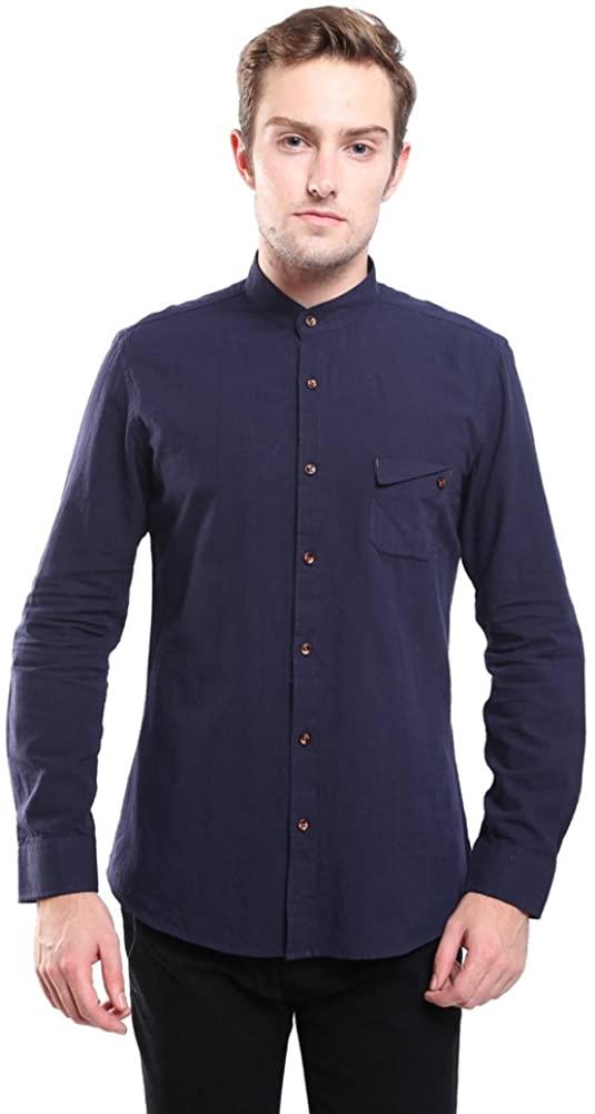 Hochock Men's Linen Cotton Long Sleeve Stand Collar Button Down Shirt Dark L