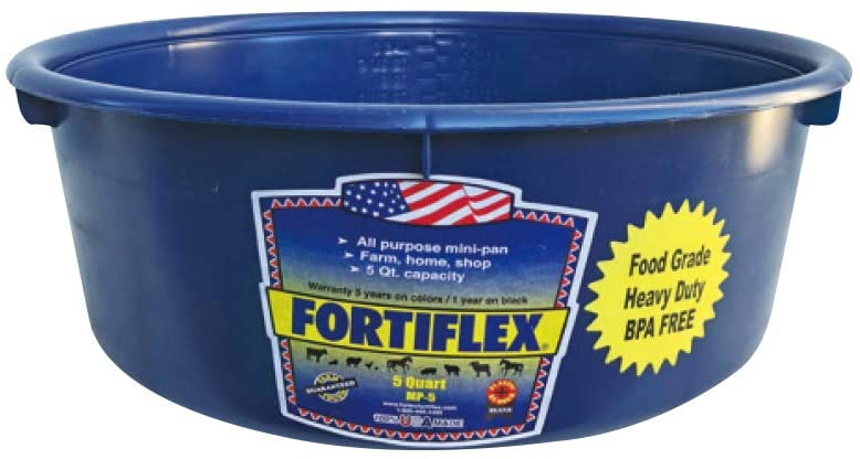 Fortiflex Mini Feed Pan for Dogs and Horses, 5-Quart, Sapphire