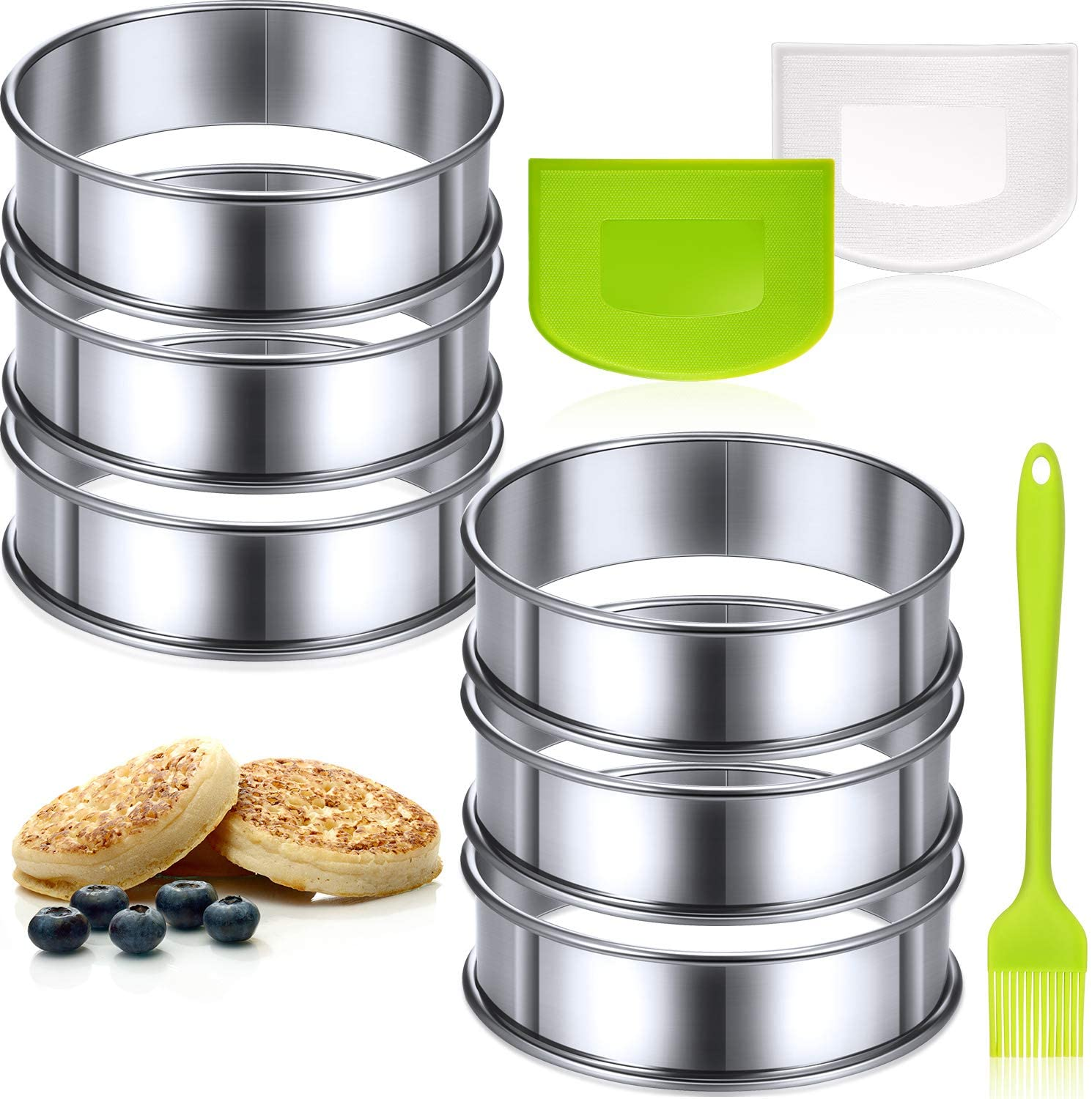 6 Pieces 3.15 Inch Double Rolled Tart Rings Stainless Steel Muffin Rings with 2 Pieces Dough Scrapers and Oil Brush for Home Cooking Baking Tools