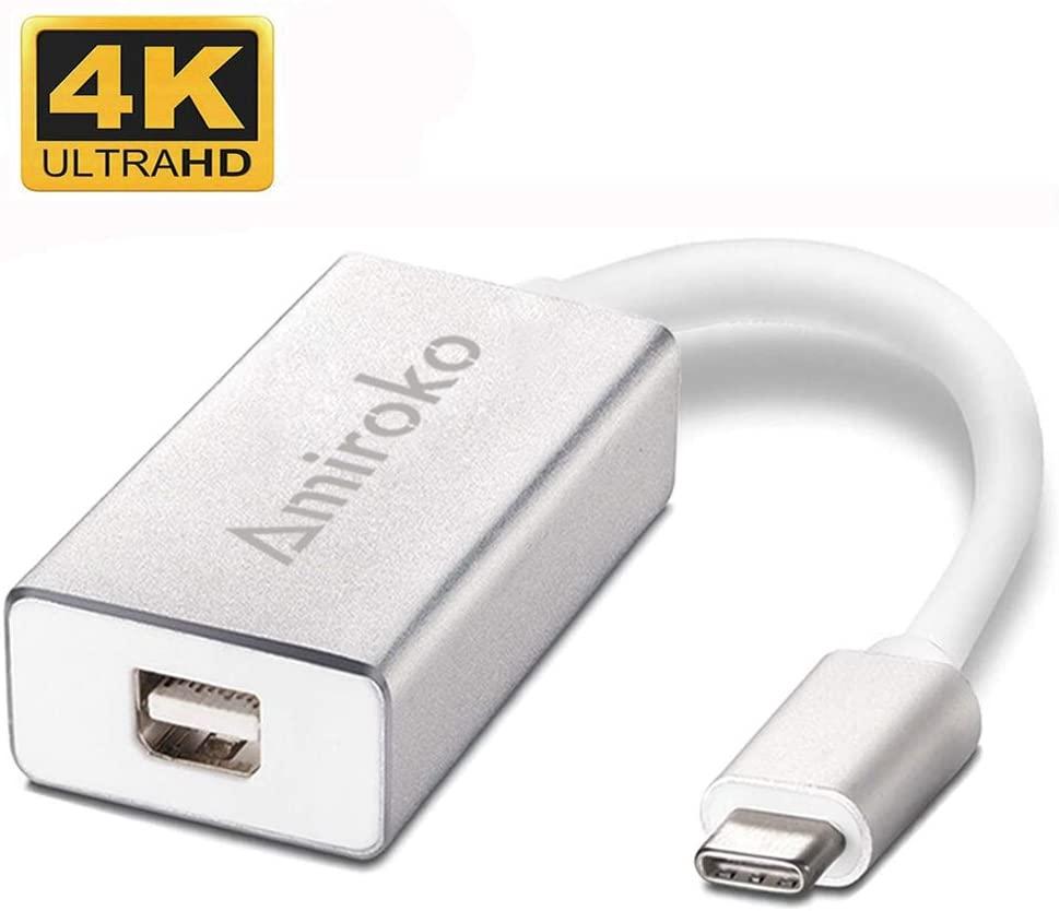 Amiroko USB-C to Mini DisplayPort Adapter, USB 3.1 Type C to Mini DP Adapter Support 4K, 1080P Compatible with MacBook Pro, MacBook 12