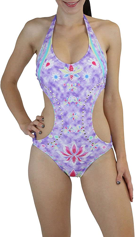 ToBeInStyle Women's One Piece Monokini Swimsuit w/Side Cut Out Padded Fully Lined