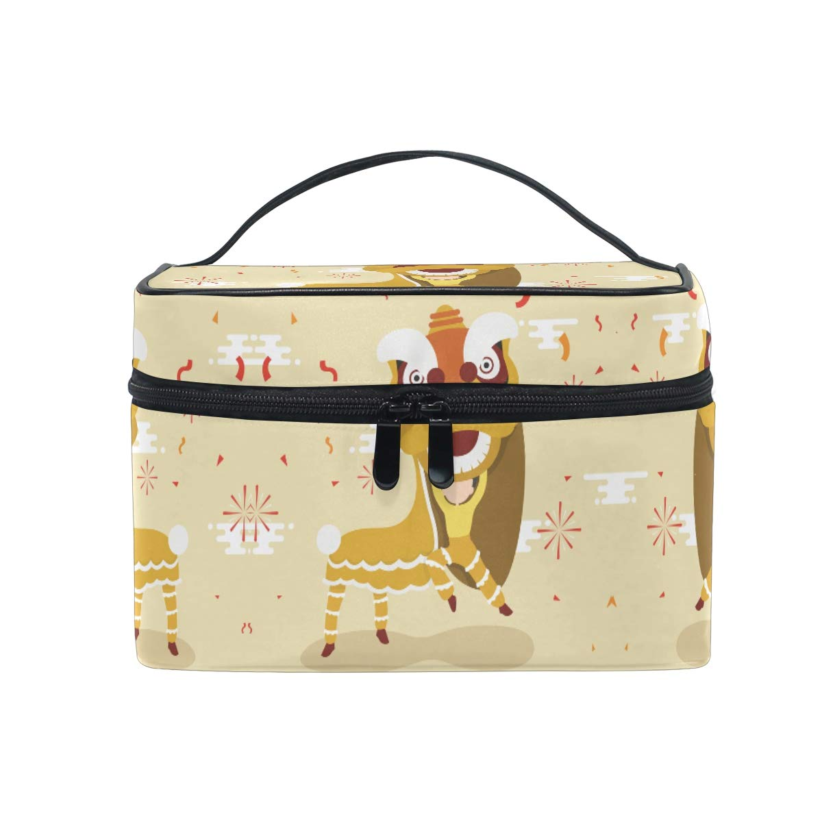 Chinese Lion Dance Women Makeup Bag Travel Cosmetic Bags Toiletry Train Case Beauty Pouch Organizer