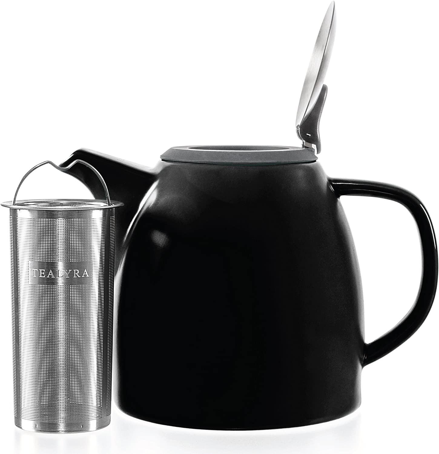 Tealyra - Drago Ceramic Teapot Black - 37oz (4-6 cups) - Large Stylish Teapot with Stainless Steel Lid Extra-Fine Infuser To Brew Loose Leaf Tea - Leed-Free - 1100ml