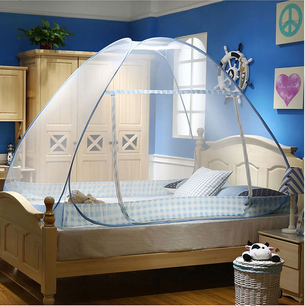 CdyBox Folding Mosquito Net Tent Canopy Curtains for Beds Home Bedroom Decor (1.2X2.0m, Blue)