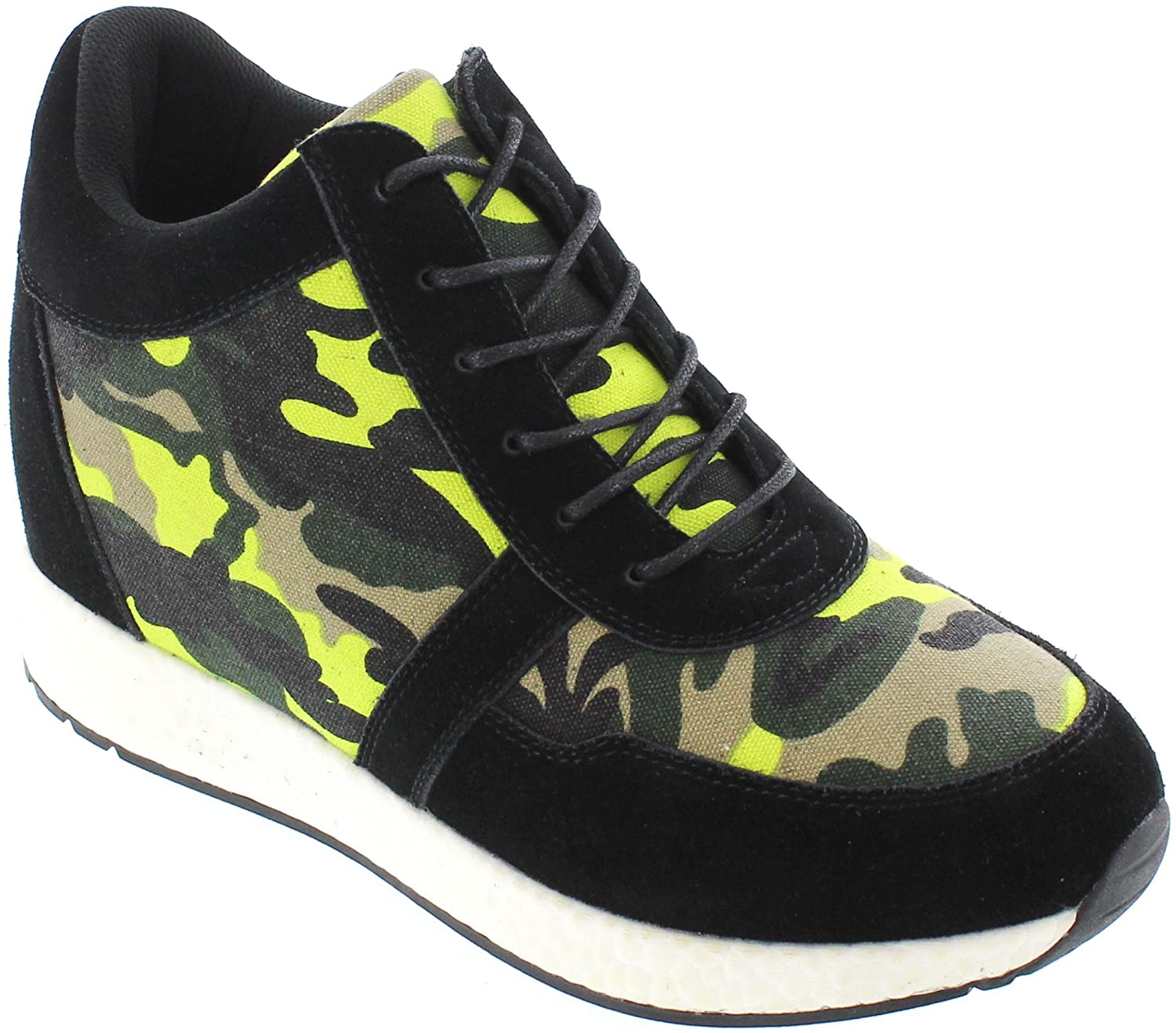CALTO Men's Invisible Height Increasing Elevator Shoes - Camo Black/Yellow Canvas Lightweight Lace-up Casual Trainers Sneakers - 3.2 Inches Taller - H2244