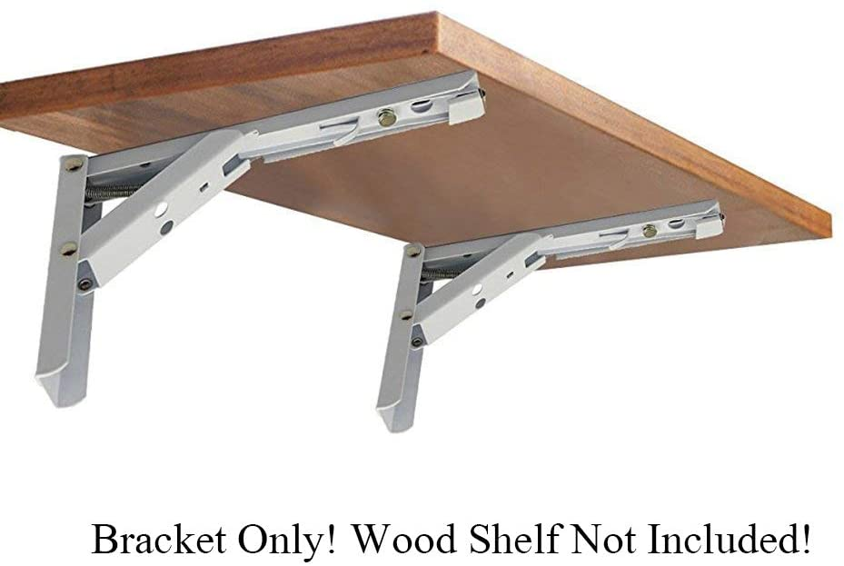 Wall Mounted Folding Shelf Brackets, Rolled Steel Triangle Table Bench Folding Shelf Bracket with Short Release Arm, Max Load: 132lb #81223-14F (2 Pack)