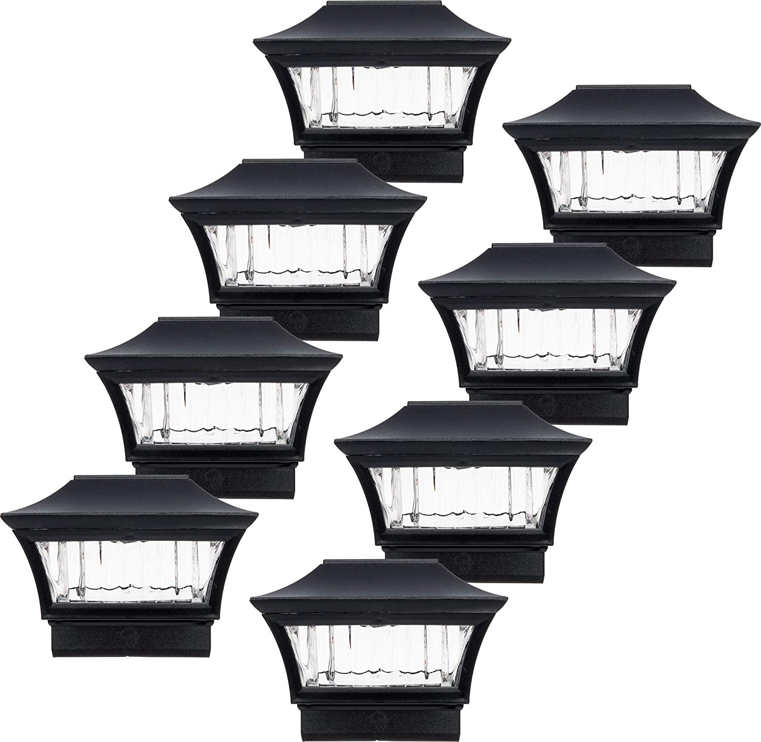 GreenLighting Black Aluminum 4x4 Solar Post Cap Light - Wood/PVC Posts (8 Pack)