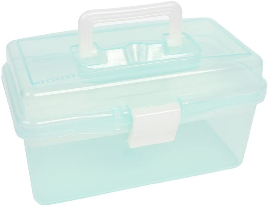 Utoolmart ABS Material Layers Transparent Tool Box Container Toolbox Toolkit Hardware Tools Storage Box Hand Strap Carrying Tool Boxes And Handle Tool Box Blue/Purple/Green