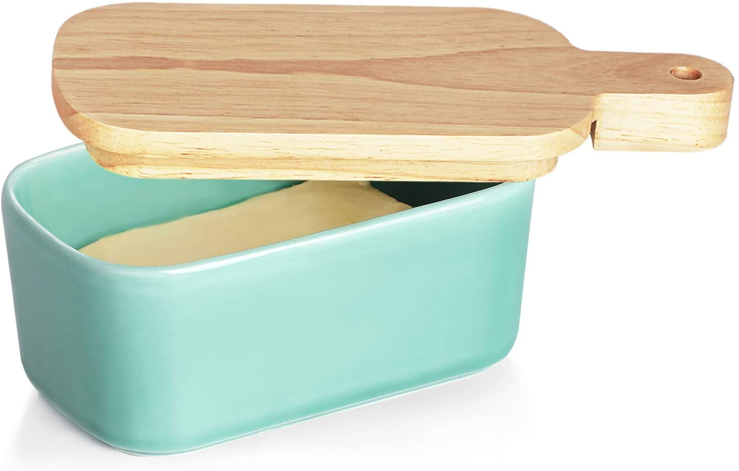 GDCZ Porcelain Butter Dish - Large Ceramics Butter Holder with Extended Wooden Lid (2 Sticks of Butter), Turquoise
