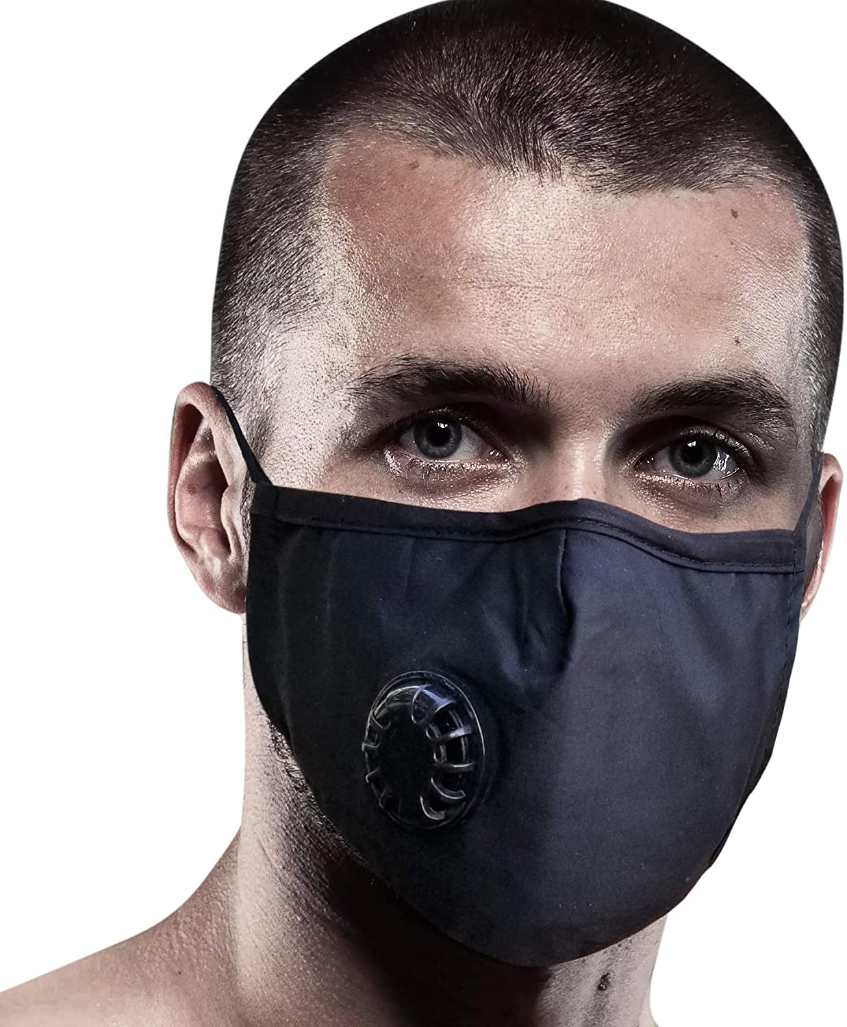 FIGHTECH Anti Pollution Mask with 4 Carbon Filters for Pollution Pollen Allergy Woodworking Mowing Running | Washable and Reusable Cotton Half Face Mask (Extra Large, Black)