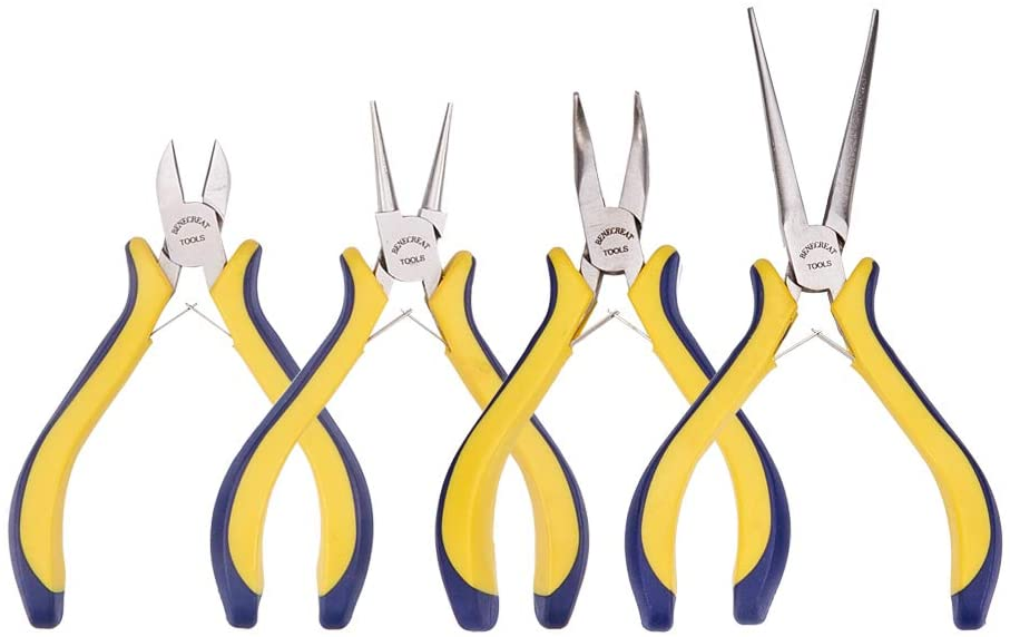 BENECREAT 4-Piece Jewelry Pliers Set with Comfort Rubber Grip for Jewelry Making, Handcraft Making - Needle Nose/Round Nose/Bent Nose/Side Cutting Pliers