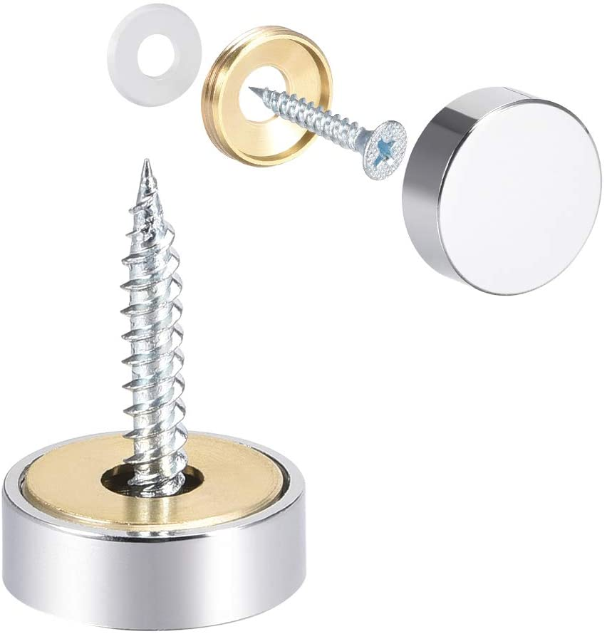 uxcell Mirror Screws Decorative Caps Cover Nails Polished Stainless Steel 20mm 8pcs