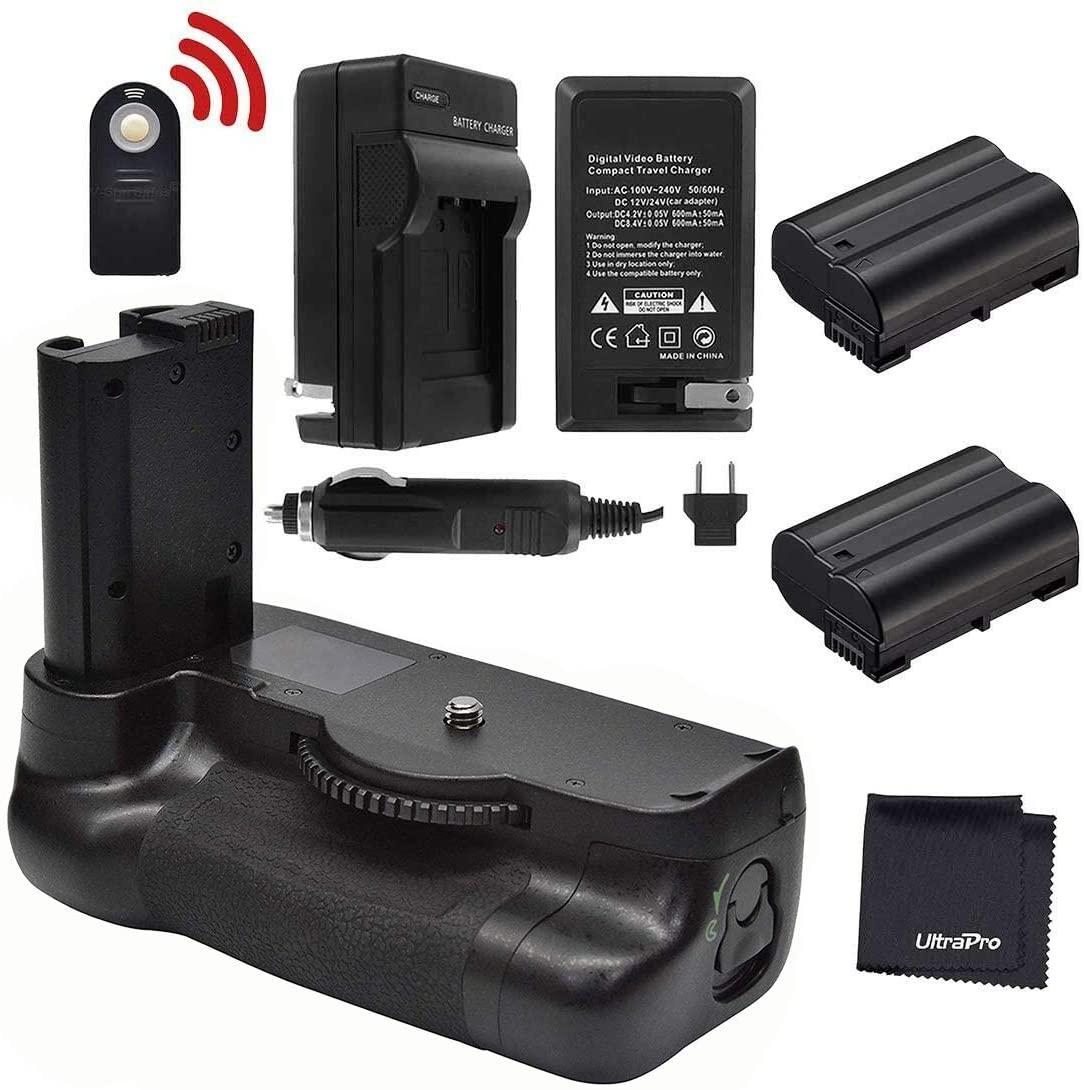 Battery Grip Bundle for Nikon D7500: Includes MB-D18 Replacement Grip, 2-Pk EN-EL15 Replacement Long-Life Batteries, Charger, UltraPro Accessory Bundle