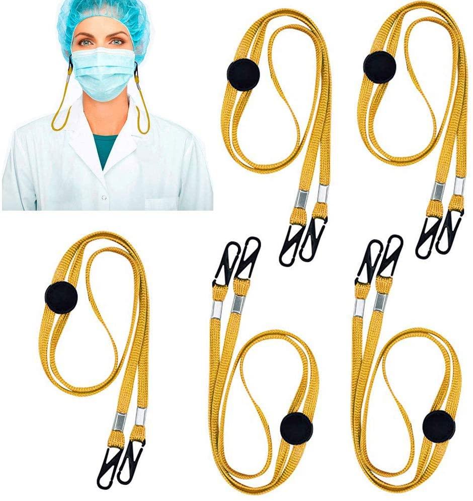 HHK 5 Pack - Adjustable Length Face Mask Lanyard - Handy & Convenient Safety Mask Holder & Hanger - Comfortable Around The Neck Facemask Rest & Ear Saver Easy On & Off (Colorful) (Orange)