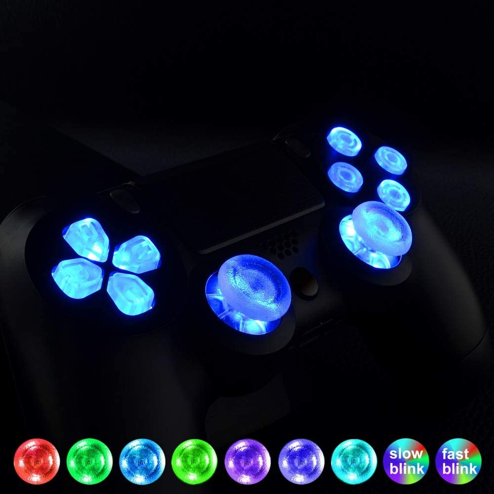 eXtremeRate 7 Colors 9 Modes Touch Control Multi-Colors Luminated D-pad Thumbsticks Face Buttons (DTF) LED Kit for PS4 PS4 Pro PS4 Slim Controller