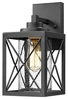 TENGXIN Outdoor Wall Sconce,Wall Lantern,Proch Light,Black Finished with Seeded Glass,E27,UL Listed,1 Pack,Suitable for Garden & Patio Lights(TXFKWL0016BBW)