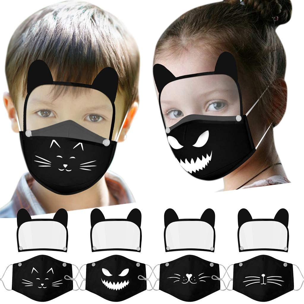 Ecnobia Reusable and Breathable, Face_Mask with Eyes Shield (Detachable), Full Protection, Indoors and Outdoors, Anti-Haze Dust, for Kids (4Pcs + 16Pcs Filters)