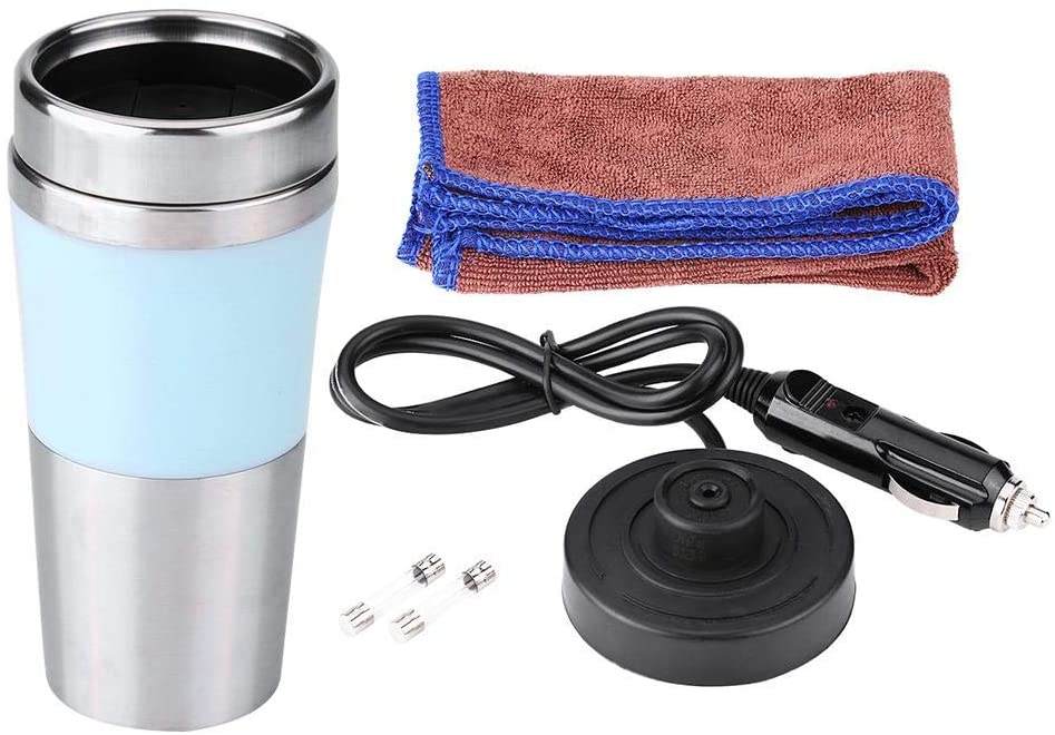 Car Heating Cup, 350ml 12V Car Stainless Steel Cigarette Lighter Heating Cup Electric Water Kettle 3 Colors (Blue)