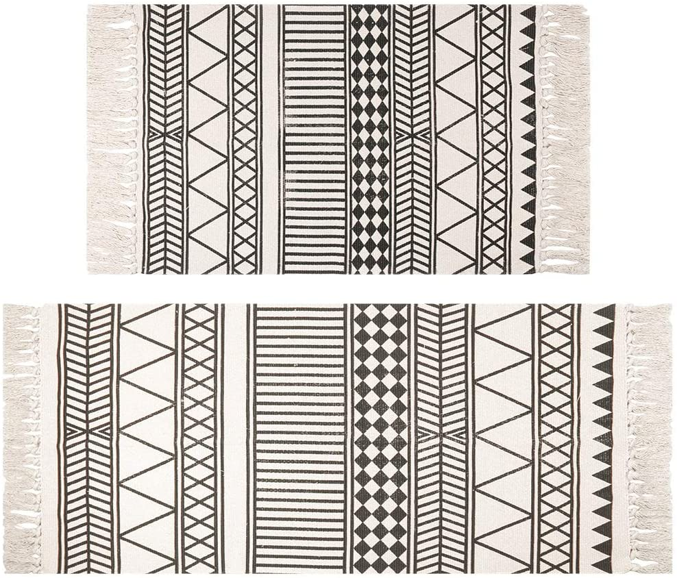 HEBE Cotton Area Rugs Set of 2 Piece 4.2'x2'+3'x2' Machine Washable Black and Cream Cotton Tassel Rugs Woven Cotton Runner Throw Rugs for Kitchen,Living Room