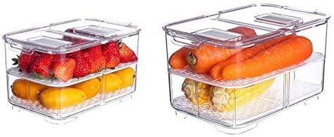 Set of 2 Fridge Organizer and Freezer Organizer Refrigerator organizer bins Stackable Leachable Storage Bins Kitchen Pantry BPA-Free Drawer Organizers for Refrigerator Freezer and Pantry