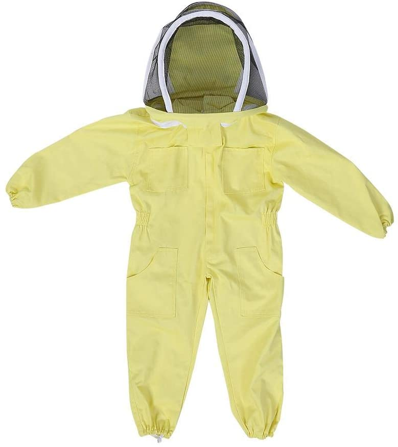 Beekeeping Suit, Professional Children's/Kids' Full Body Beekeeping Cotton Breathable Protective Suit Bee Farm Visitor Protect Equipment Jumpsuit(M)