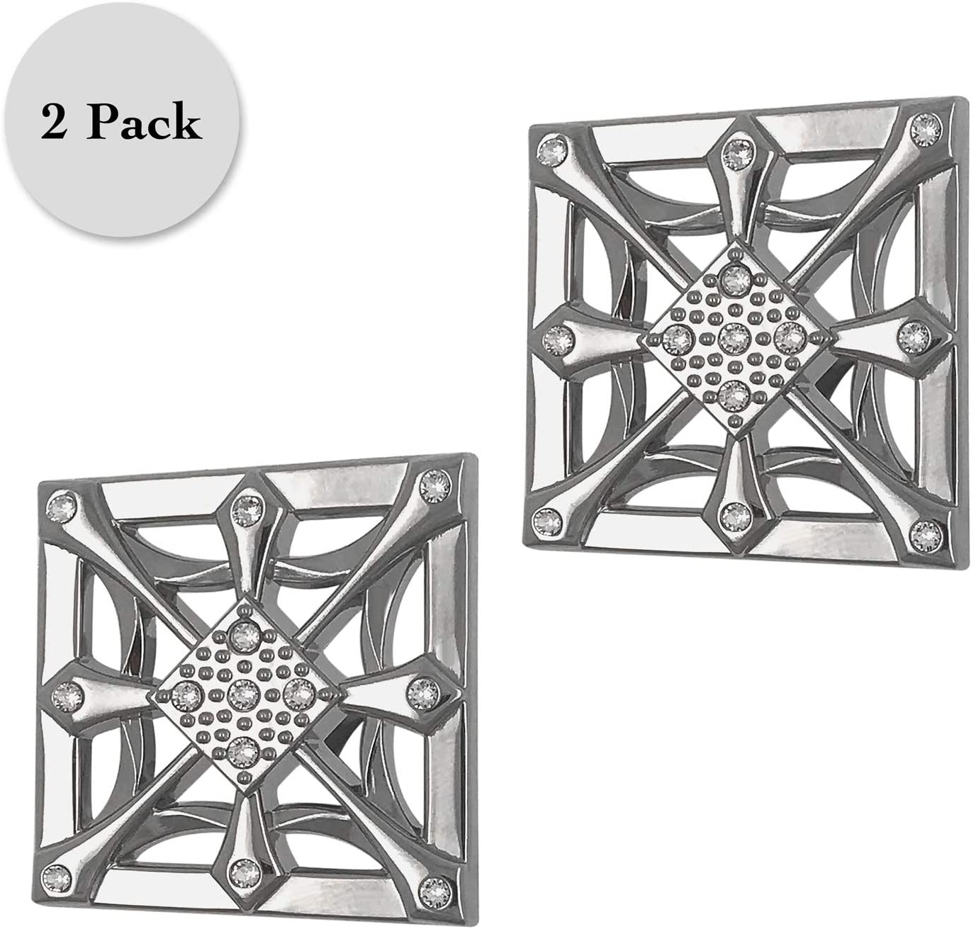 Regent Square Set of 2 Drawer Knobs- Square with Scrolls & Crystals from Swarovski- 2-Pack, Nickel Finish, Zinc Alloy, Cabinet Hardware
