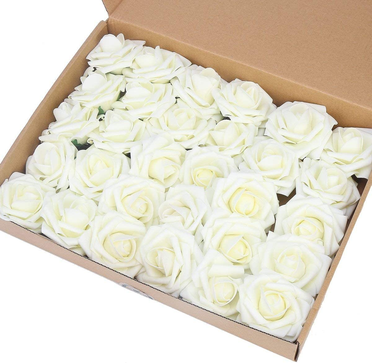 MACTING Artificial Flower Rose, 60pcs Real Touch Artificial Roses for DIY Bouquets Wedding Party Baby Shower Home Decor (60pcs Ivory)