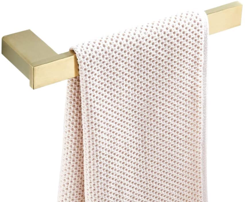 WOLIBEER Stainless Steel Construction Solid Towel Ring, Short Towel Bar, Brushed Gold Finished Towel Rail, Wall Mounted for Bathroom Kitchen L27cm