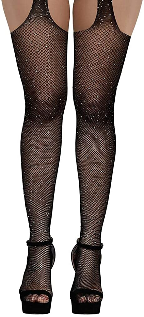 AROOMVE Women's Glitter Rhinestone Stocking Sexy Fishnet Tight Elastic Pantyhose