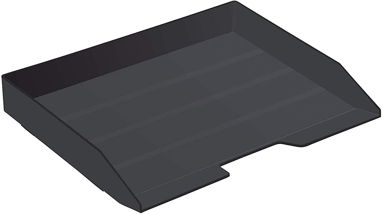 Acrimet Stackable Letter Tray Single Side Load Plastic Desktop File Organizer (Black Color) (1 Unit)