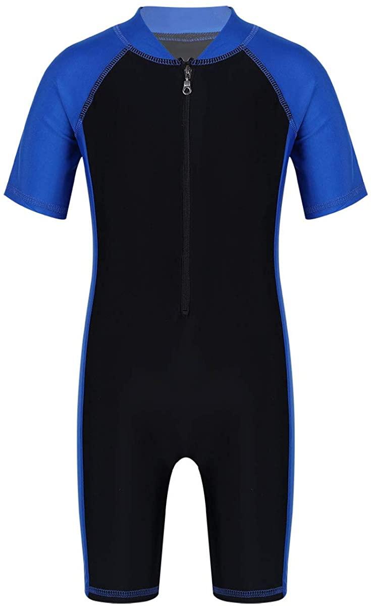 iEFiEL Boys Girls Short Sleeve One Piece Shorty Wetsuit Swimsuit Swimwear UPF 50+ Sun Protection Bathing Suit Rash Guard