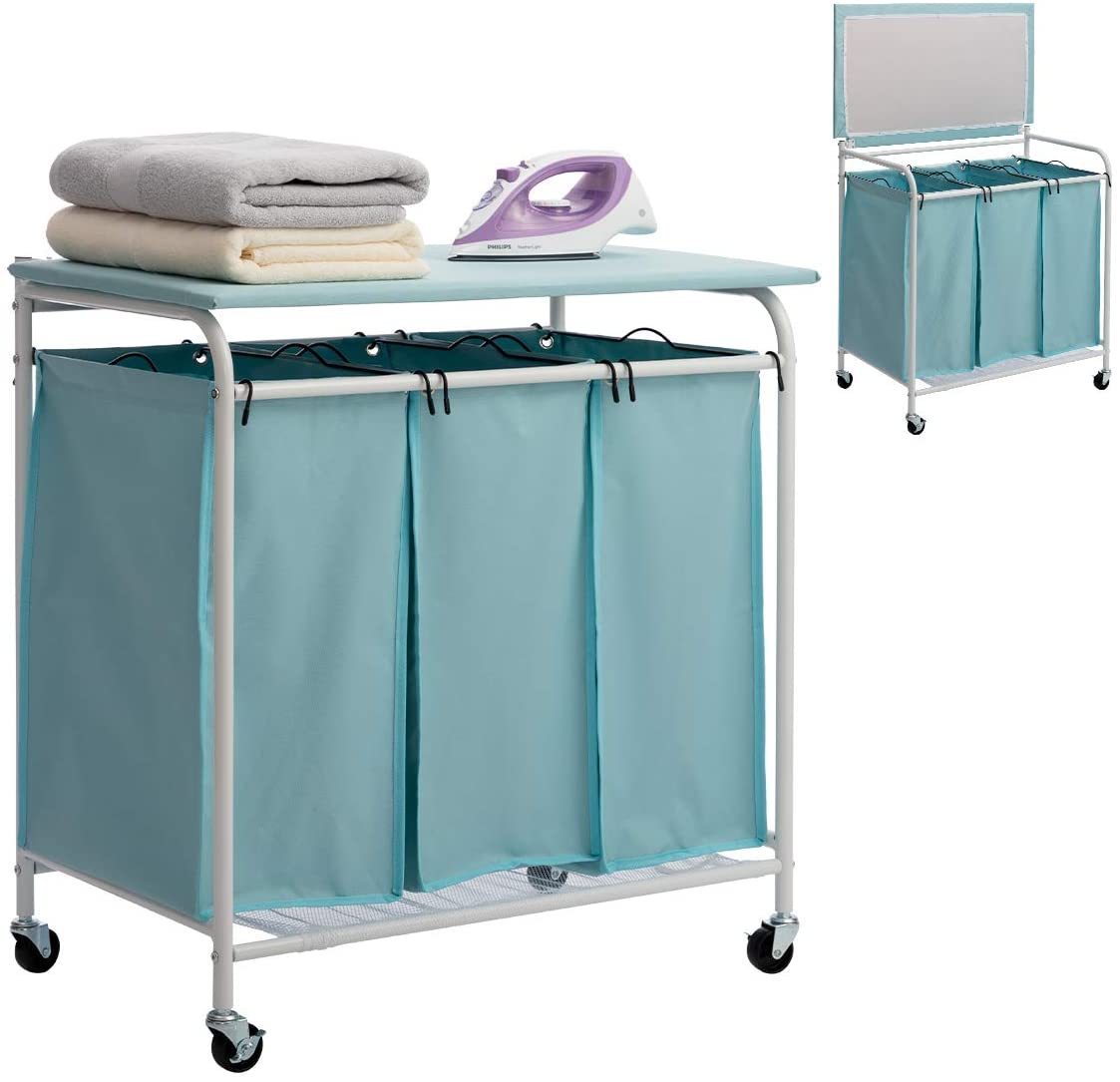 HollyHOME 3-Bags Laundry Sorter Cart with Foldable Ironing Board Rolling Heavy-Duty Laundry Hamper with Removable Bags Mobile Brake Caster Light Blue