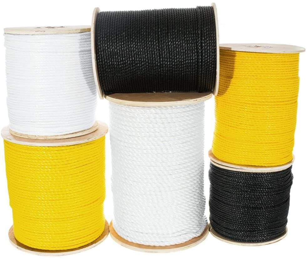 Twisted Polypropylene Rope (1/4 Inch - 3/4 Inch) Floating Polypro Cord – Oil, Rot, Mold, Mildew, Moisture, Chemical, UV, and Acid Resistant - Marine, Nautical, Wet Projects (50 Feet - 1200 Feet)