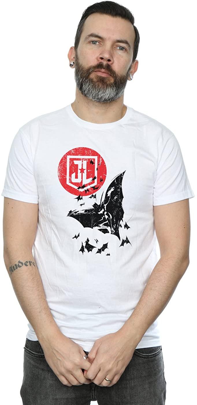 DC Comics Men's Justice League Movie Batman Moon Leap T-Shirt
