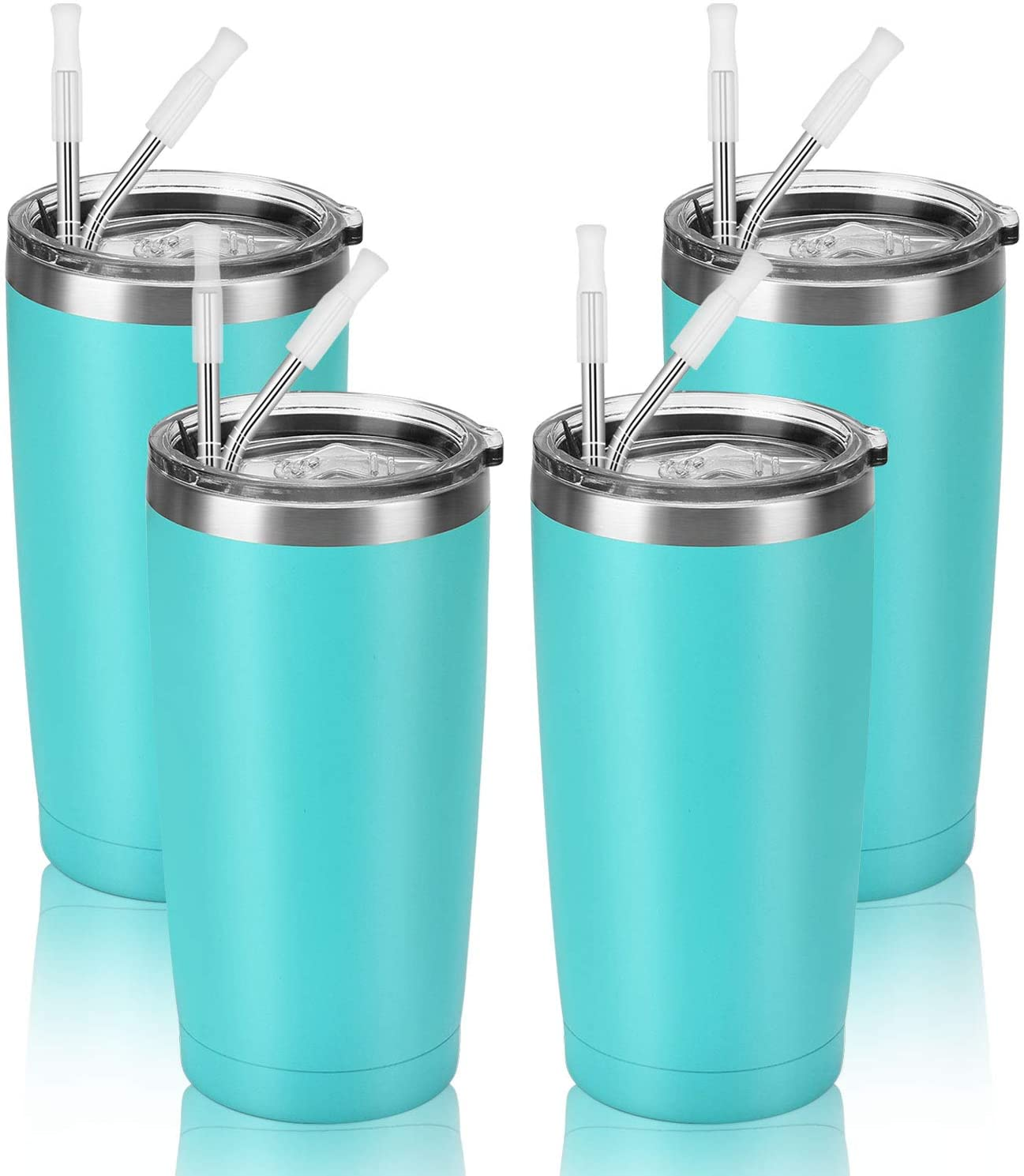 4 Pack Travel Tumblers with 8 Lids, Stainless Steel Double Wall Vacuum Travel Tumbler for Home School Office Camping, Insulated Travel Tumbler Works Good for Ice Drink, Hot Beverage(20 oz, Mint)