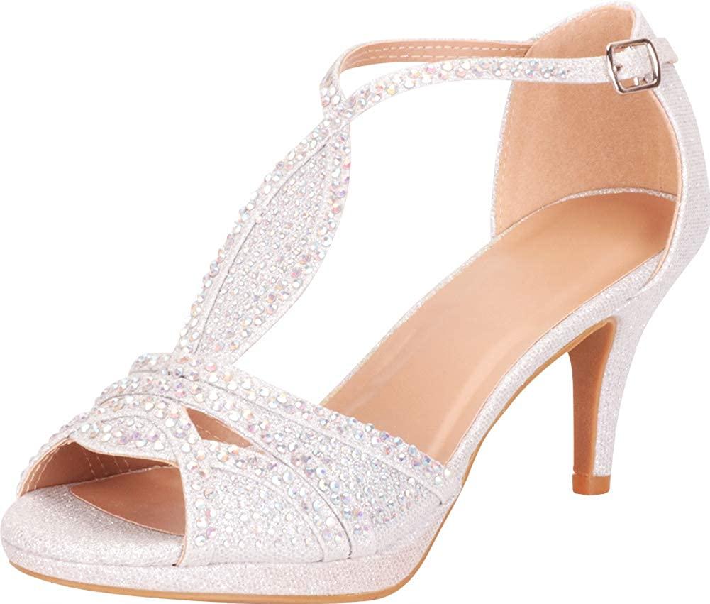 Cambridge Select Women's Open Toe Crystal Rhinestone Mid Heel Sandal