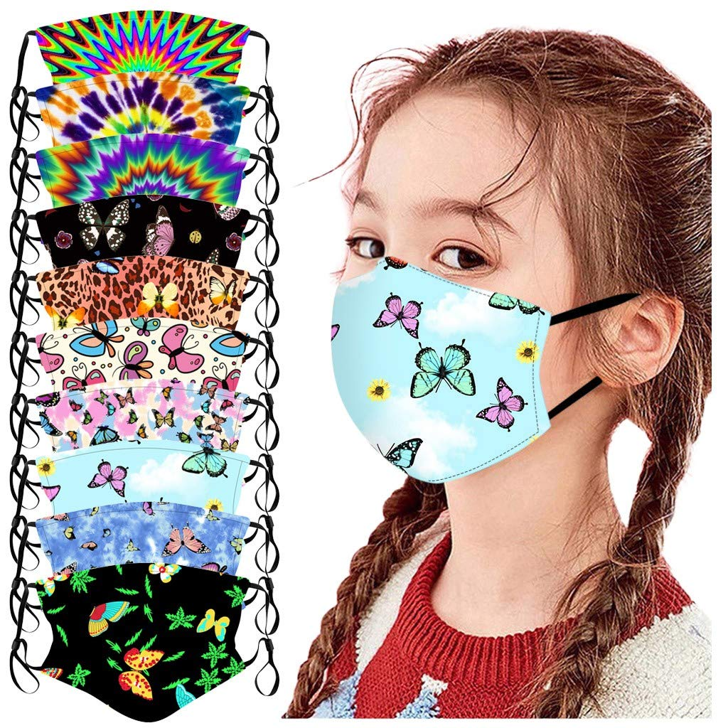 Crazypig 10PCS Kids Reusable Bandana_Covering_Mask, Breathable Cotton Butterfly Fashion Print Madk for Boys and Girls Outdoor Sports Reusable &Washable