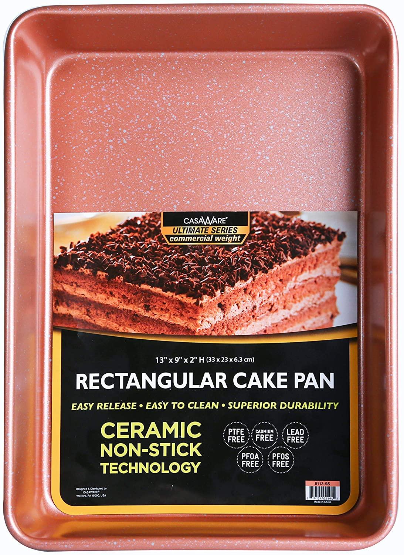 casaWare 13 x 9 x 2-inch Ultimate Series Commercial Weight Ceramic Non-Stick Coating Rectangular Cake Pan (Rose Gold Granite)