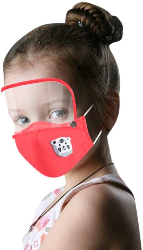 Kids Washable Reusable Face Macks With Filter and Detachable Eye Shield Cartoon Polyester Bandana Elastic earsloop Breathable (Red)