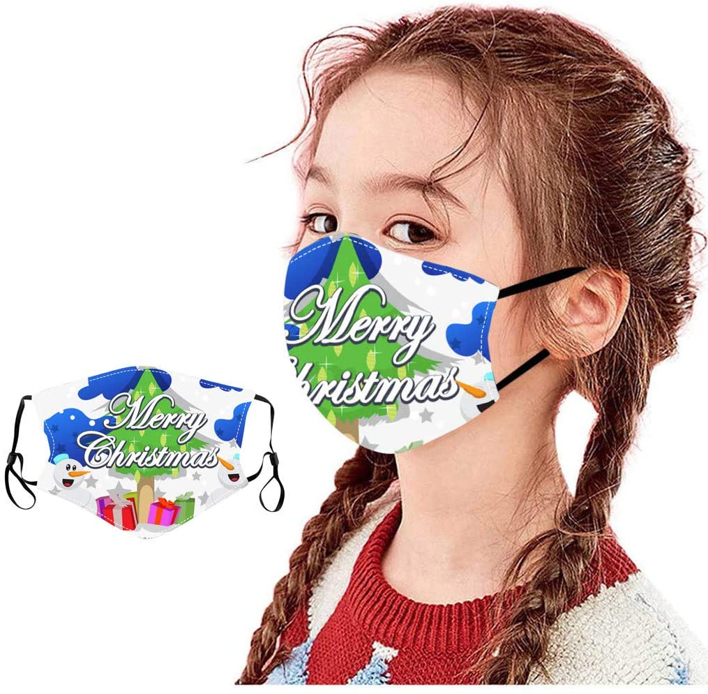 YoungGo Children's Christmas Printed Covers are Washable and Filterable face mask Reusable