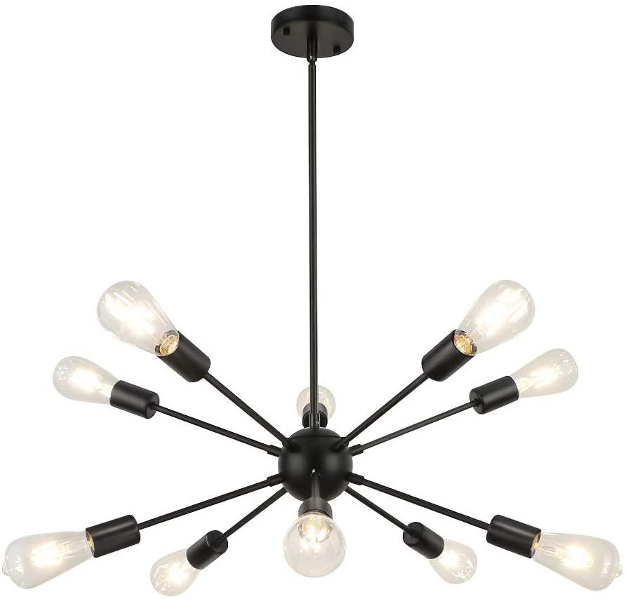 WBinDX Modern 10 Lights Sputnik Chandelier Light Fixture Black Industrial Vintage Ceiling Lighting for Bedroom Living Room Kitchen Island Dining Foyer