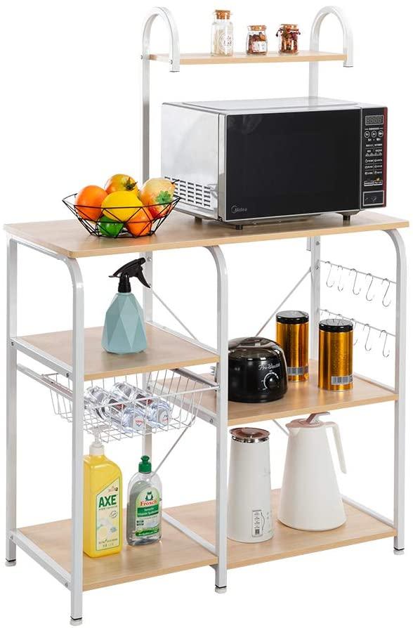 SSLine Kitchen Island Baker's Rack Microwave Oven Stand Cart Wood/Metal Kitchen Utility Storage Shelves Organizer with Hooks&Basket Free Standing 4-Tier Baker Spice Rack Shelving Unit - White Maple