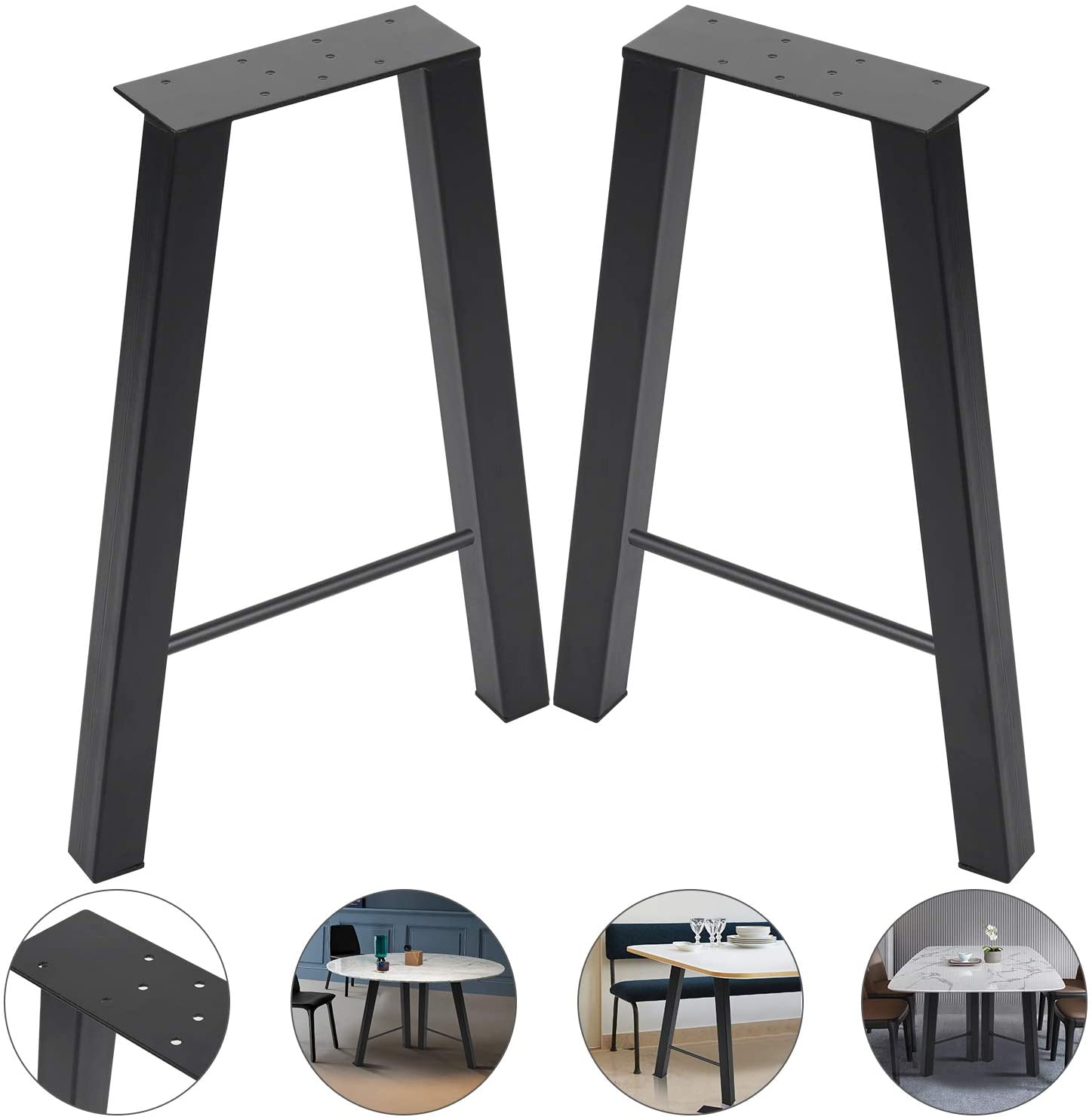 """16inch Set of 2 Industrial Rustic Type Steel Table Legs 16""""x11"""" Dining Table Legs 16""""Height 11""""Wide Metal Iron Chair Bench Coffee Table Legs Baking Finish"""
