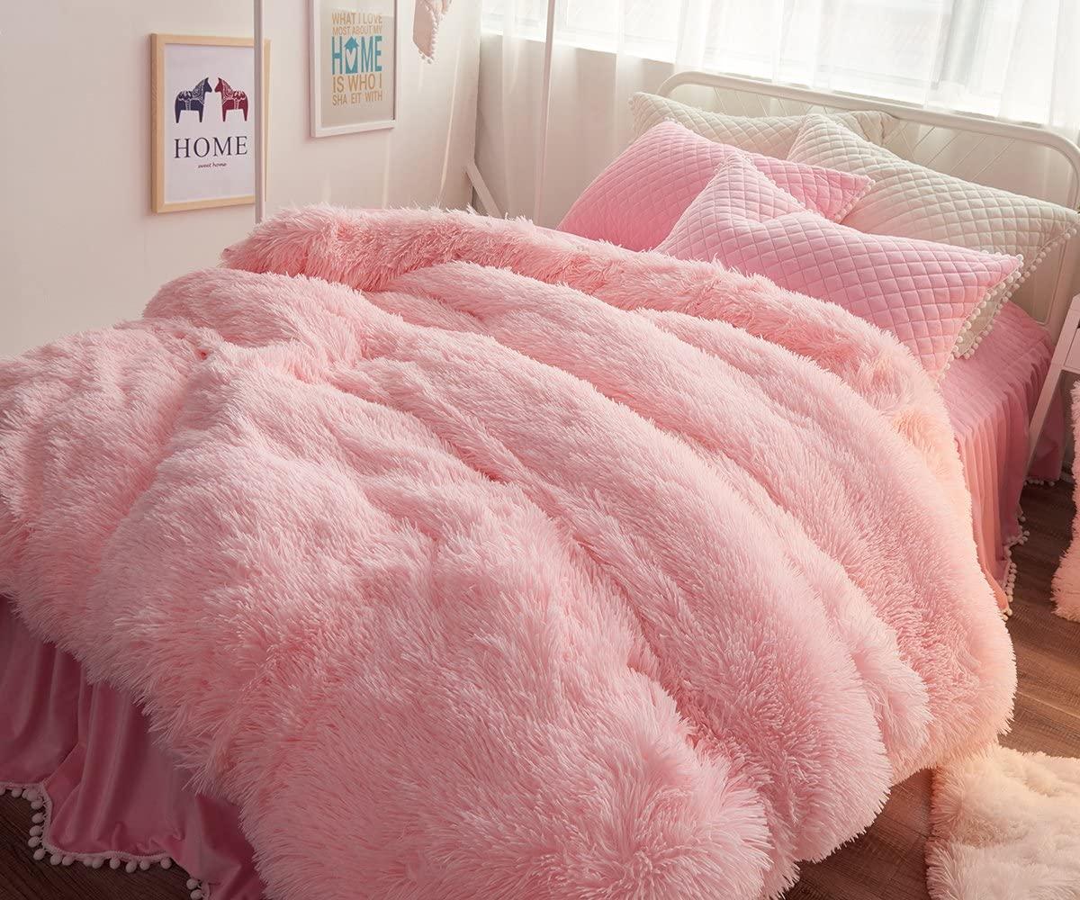 Ceruleanhome 1pc 100% Velvet Flannel Duvet Cover, Solid Color, No Inside Filler, Zipper Close (Queen 1pc Duvet Cover, Pink)