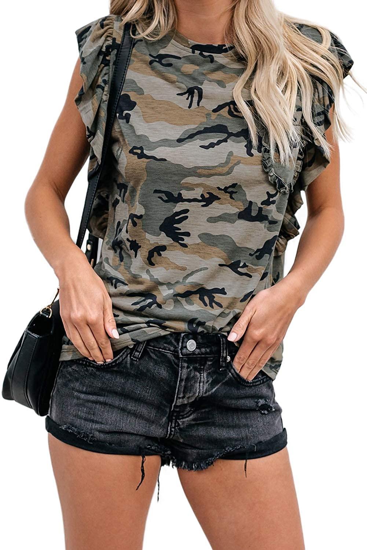 Mosucoirl Women Crew Neck Floral Print Ruffle Sleeve Summer Top Fashion Sleeveless Leopard Blouse Shirt