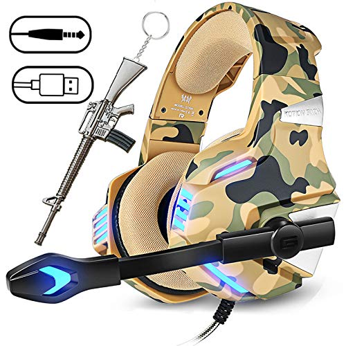 Camo Headset for Xbox one, PS4 headset with Microphone,Over Ear Headphones for Laptop PC with LED Light, Bass Surround, Friction-Reduction Cable, High Comfort Earmuff Gift for Kids