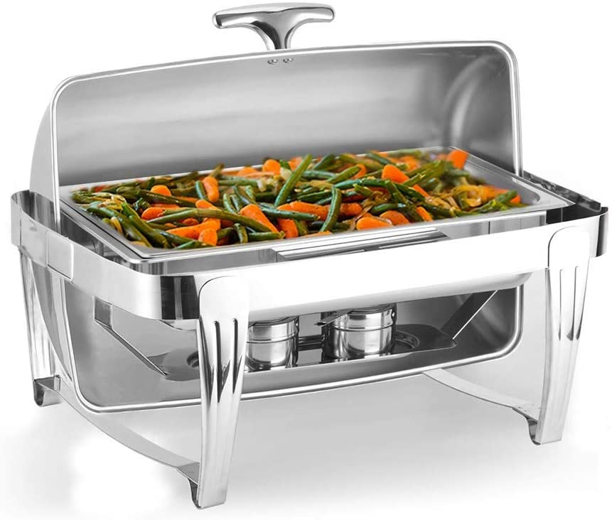 Festnight Chafing Dish Buffet Set Clamshell Single Pot 9 Quart Food Grade Stainless Steel Rectangular Buffet Chafer Stove with Fuel Burners and Food Pan for Catering Wedding Party Banquet Restaurant