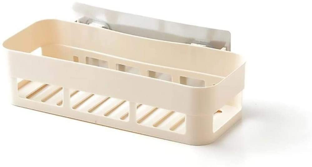 Mounted Bathroom Shelf,Plastic Wall Mounted Adhesive Kitchen Spice Rack Wall Mounted No Drilling(Dark Beige)