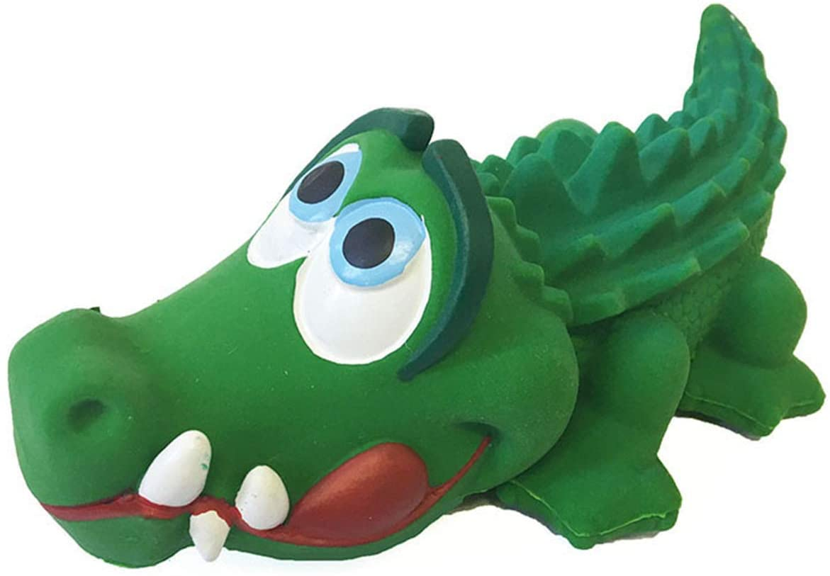 Crocodile Sensory Squeaky Dog Toy Natural Rubber (Latex) Lead-Free Chemical-Free Complies to Same Safety Standards as Children's Toys Soft