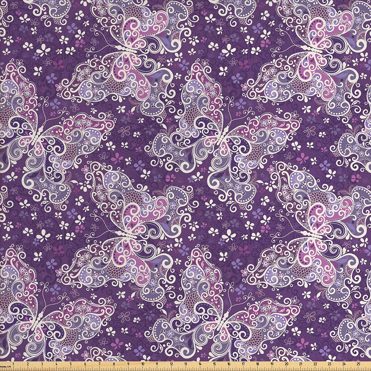 Lunarable Floral Fabric by The Yard, Ornate Oriental Big Butterfly with Retro Elements, Decorative Fabric for Upholstery and Home Accents, 1 Yard, Purple White
